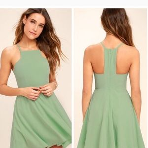Lulus Call to Charms Skater Dress in Sage Green